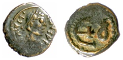 Ancient Coins - BYZANTINE, Justinian I. AE Pentanummium. Theoupolis (Antioch) mint. Struck circa 546-551