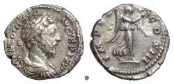 Ancient Coins - MARCUS AURELIUS.  AR denarius, Rome mint, struck 173/4 AD.  Victory