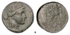 Ancient Coins - Ionia, Smyrna. AE 22, Circa 75-50 BC. Apollo / Homer