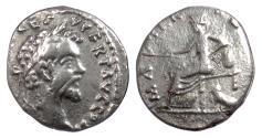 Ancient Coins - Septimius Severus. Fourée denarius, 193-211 AD.  Unique design combination