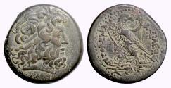 Ancient Coins - Egypt, PTOLEMY III. AE tetrobol, Alexandria mint, 221-204 BC. Zeus / Eagle. RARE