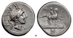Ancient Coins - Roman Republic, L. Marcius Philippus. AR denarius, Rome mint. 113/2 BC