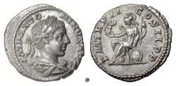 Ancient Coins - ELAGABALUS.  AR denarius, Rome mint. Struck 218-219 AD. Roma