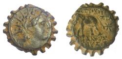 Ancient Coins - SELEUKID KINGS, Antiochos VI Dionysos. AE serrate denomination B.  Antioch mint. Struck circa 143-142 BC