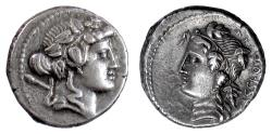 Ancient Coins - Roman Republic, L. Cassius Q.f. Longinus. AR denarius, Rome mint, circa 76 BC. Liber / Libera
