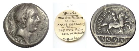 Ancient Coins - Roman Republic, L. Marcius Philippus. AR denarius. Rome mint, 56 BC