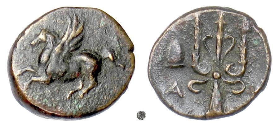 Ancient Coins - CORINTH.  AE 13, circa 287-252 BC. Pegasus / Trident