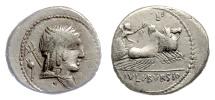 Ancient Coins - Roman Republic, AR denarius. L. Julius Bursio, Rome mint, 85 BC. Genius / Victory