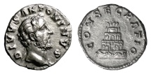 Ancient Coins - Divus Antoninus Pius. AR Denarius, struck AD 161. Funeral pyre, quadriga on top