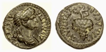 Ancient Coins - DOMITIA. LYDIA, Philadelphia; Lagetas, magistrate. Leaded AE 15 mm. Grape bunch