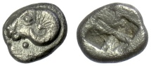 Ancient Coins - TROAS, Kebren. AR Diobol , 5th century BC. Ram's head / incuse