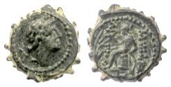 Ancient Coins - SELEUKID KINGS, Antiochos IV. Serrate AE denom D, Ake mint circa 175- 172 BC. Scarce