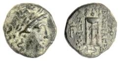 Ancient Coins - SELEUKID KINGS, Antiochos II Theos. AE denomination B, Tralleis? mint. Apollo / tripod