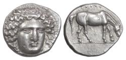 Ancient Coins - THESSALY, Larissa. AR Drachm, circa 404-370 BC. Nymph Larissa / Horse grazing