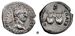 Ancient Coins - TRAJAN, LYCIAN LEAGUE.  AR Drachm, struck 98-99 AD.  Owl above two lyres
