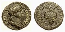 Ancient Coins - DOMITIA. LYDIA, Philadelphia; Lagetas, magistrate. Leaded AE 15 mm. Grape bunch
