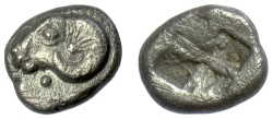 Ancient Coins - TROAS, Kebren. AR Diobol , 5th century BC. Ram's head / incuse