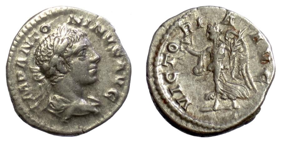 Ancient Coins - ELAGABALUS. AR Denarius, Rome mint, struck 219-220 AD. Victory