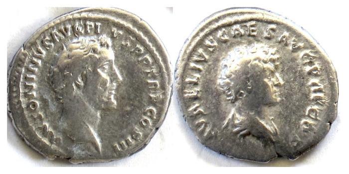 Ancient Coins - Antoninus Pius with Marcus Aurelius. AR denarius. Rome mint. Struck AD 140-144. Scarce variety