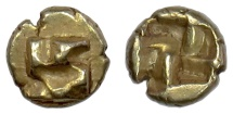 Ancient Coins - IONIA, Uncertain mint. EL 1/24 Stater, circa 625-600 BC. Swastika pattern / Incuse