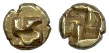 IONIA, Uncertain mint. EL 1/24 Stater, circa 625-600 BC. Swastika pattern / Incuse