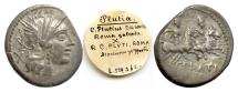 Ancient Coins - Roman Republic, C. Plutius. AR denarius. Rome mint, 121 BC. Roma / The Dioscuri