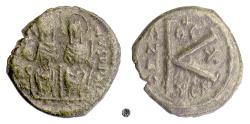 Ancient Coins - BYZANTINE, Justin II, with Sophia. AE half follis, Thessalonica mint, 574/5 AD