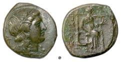 Ancient Coins - SICILY, Syracuse, Pyrrhus of Epiros. AE, 278-276 BC. Persephone / Demeter. RARE