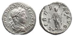 Ancient Coins - ELAGABALUS. AR Denarius, Rome mint, struck 220-222 AD. Libertas