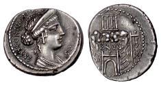 Ancient Coins - Roman Republic, C. Considius Nonianus. AR denarius, Rome 57 BC. Venus / Temple