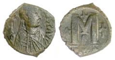 Ancient Coins - BYZANTINE, JUSTIN I. AE follis, Constantinople mint(?), 518-527 AD