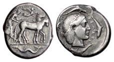 Ancient Coins - SICILY, Syracuse. AR Tetradrachm, struck circa 466-460 BC.  Charioteer / Arethusa
