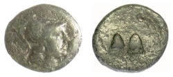 Ancient Coins - SELEUKID KINGS of SYRIA, Antiochos I Soter. AE denomination B, 281-261 BC. Caps of the Dioskouri. SCARCE
