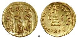 Ancient Coins - BYZANTINE, Heraclius, with Heraclius Constantine and Heraclonas. AV Solidus, Constantinople mint, circa 639-641 AD