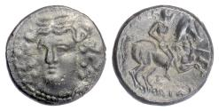 Ancient Coins - THESSALY, Larissa. AE dichalkon, 3rd century BC.  Head of nymph / Horseman