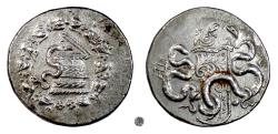 Ancient Coins - MYSIA, PERGAMON.  AR Cistophoric tetradrachm, circa 166-67 BC.  Cista mystica / Two serpents