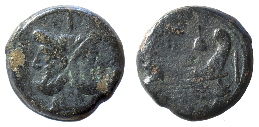 Ancient Coins - Roman Republic, Anonymous. AE as, 211-208 BC. Janus / prow