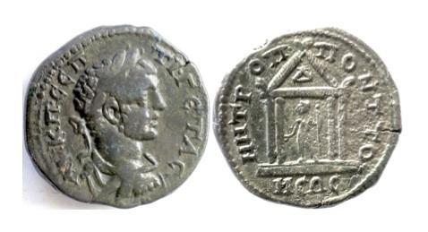 Ancient Coins - Roman Provincial, MOESIA INFERIOR, Tomis. GETA, AD 198-211. AE tetrassarion