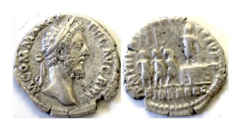 Ancient Coins - Roman, COMMODUS. AR denarius, Rome mint. Struck AD 184-185. SCARCE