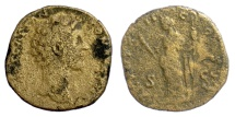 Ancient Coins - Marcus Aurelius. AE sestertius, Rome mint, struck 158 AD. Felicitas