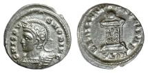 Ancient Coins - CRISPUS as Caesar. AE follis, Londinium mint, struck 323-324 AD. Globe on votive altar