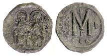 BYZANTINE, JUSTIN II (with Sophia). AE follis, Constantinople mint, RY 1 (565/6 AD)