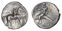 Ancient Coins - CALABRIA, Tarentum, AR Nomos, circa 280 BC. Boy crowning horse / Phalanthos riding dolphin