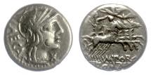 Ancient Coins - Roman Republic, AR denarius, M. Porcius Laeca. 125 BC. Libertas driving quadriga
