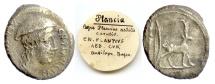 Ancient Coins - Roman Republic, Cn. Plancius. AR denarius. Rome mint, 55 BC. Macedonia / goat