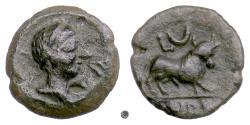 Ancient Coins - SPAIN, Castulo. AE 20, late 2nd century BC.  Male head / Bull