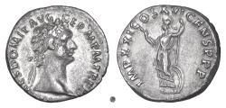 Ancient Coins - DOMITIAN. AR denarius, Rome mint, struck 92 AD. Minerva