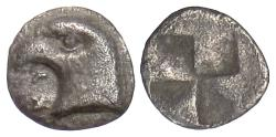 Ancient Coins - AEOLIS, Kyme. AR hemiobol, circa 480-450 BC