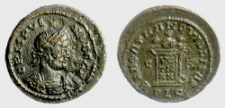 Ancient Coins - Crispus, Caesar. AE follis, Lugdunum mint. Struck AD 321