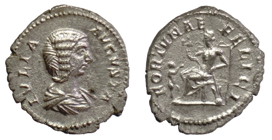 Ancient Coins - Julia Domna. AR Denarius. Rome mint. Struck under Septimius Severus, AD 207. Fortuna